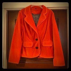 Boden orange velvet blazer size 16